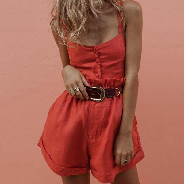 Sling Button Ruffled Jumpsuit