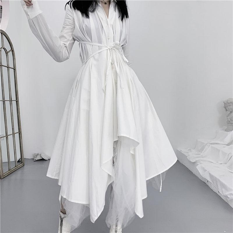 Fashion Irregular Turndown Collar Pure Colour Belted Long Sleeve Dress
