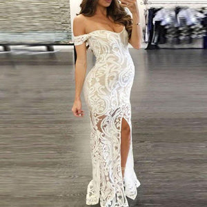 Maternity Solid Color Sexy Off Shoulder Bodycon Maxi Dress