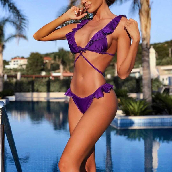 Sexy bikini ruffled straps split swimsuit