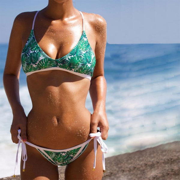 Female Sexy Split Leaf Print Belt Bikini