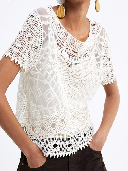 Elegant Inwrought Lace Hollow Out Short Sleeve Suit