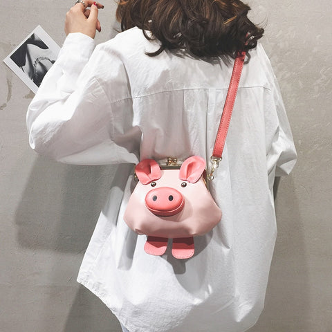 Black & Pink Cute Pig Design Fashion Casual Pu Ladies Shoulder Bag Tote Crossbody Mini Messenger Bag Bolsa Flap Handbag Purse