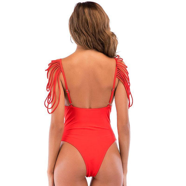Shoulder Strap Tassel With Backless Swimsuit