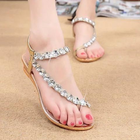 Rhinestone wedge heel slip resistant toe sandals