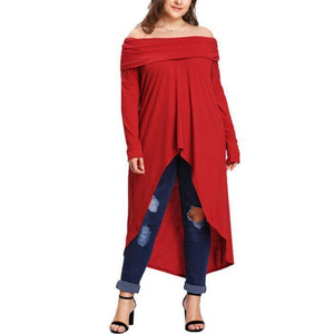 Plus-size solid color off shoulder long sleeved dress blouse