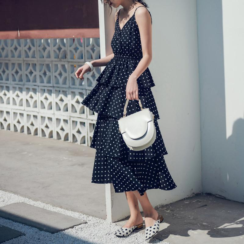 Sexy Polka Dot Sling Bare Back Beach Maxi Dresses