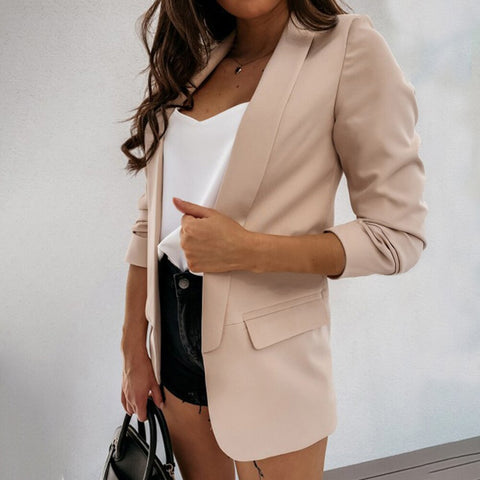 Solid Blazer Long Sleeve Office Jacket Loose Top Casual Ladies Blazer Office Wear Coat Long Sleeve Blazer