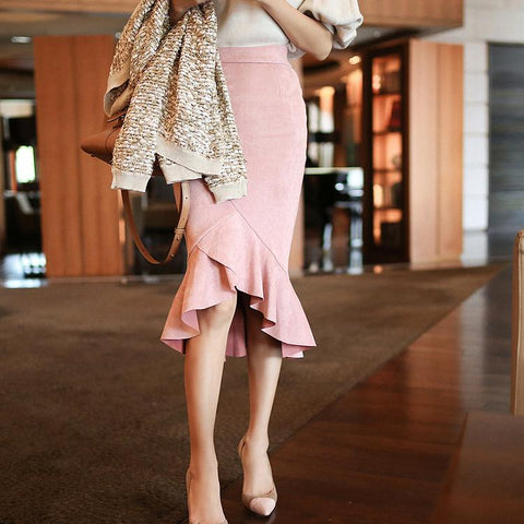 Casual Pure Colour High-waist Suede Skirt