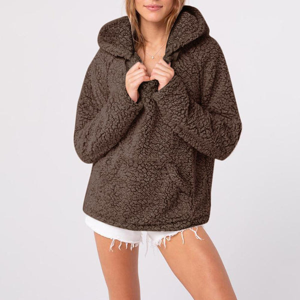 Casual Pure Color V   Neck Hooded Pocket Fluffy Fleece