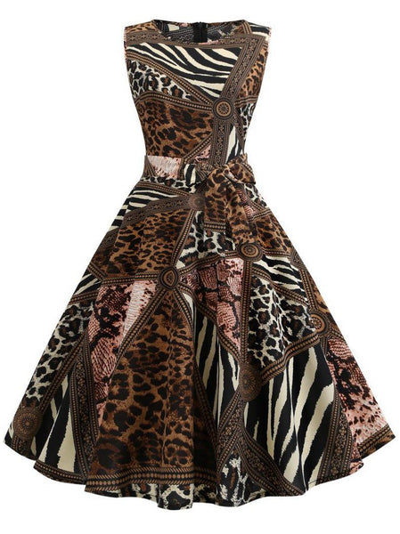 Round Neck  Abstract Print Animal Printed Skater Dress