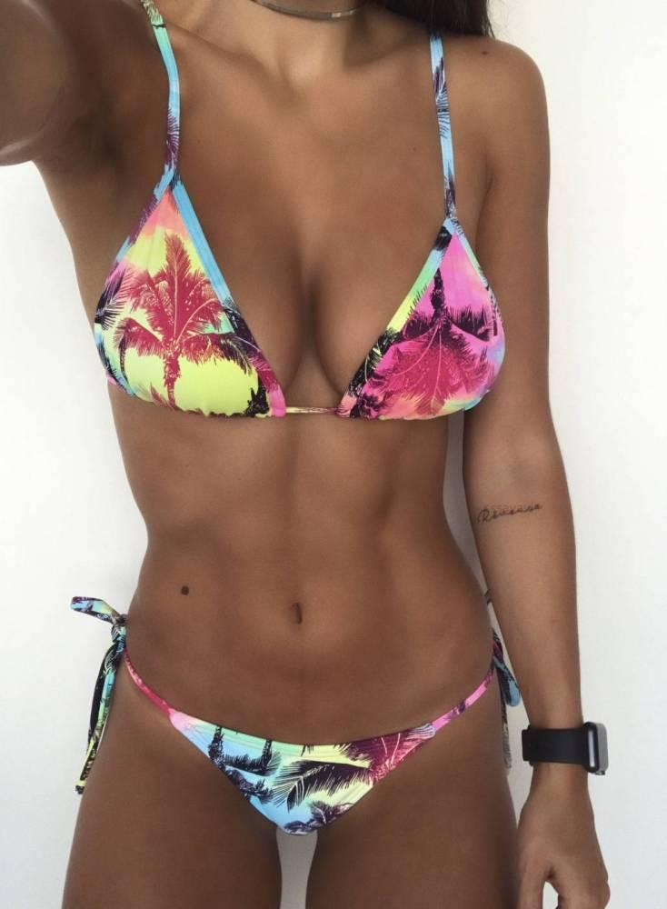 Sexy Bikini Color Printed Bandage One Piece Swimsuit