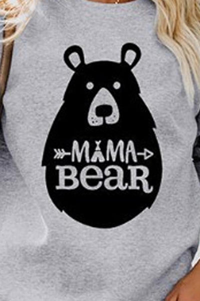 Round Neck  Animal Prints Letters  Sweatshirts