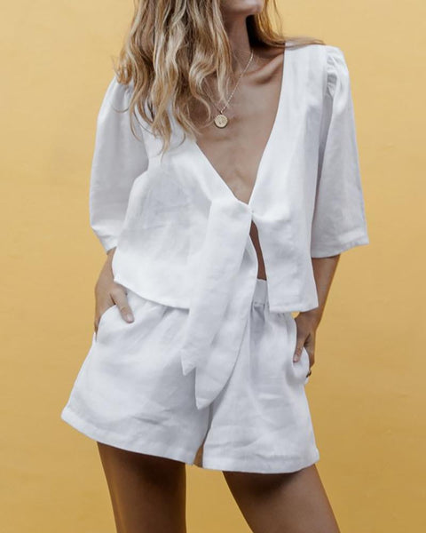V-Neck Chest Knotted Short-Sleeved Suit