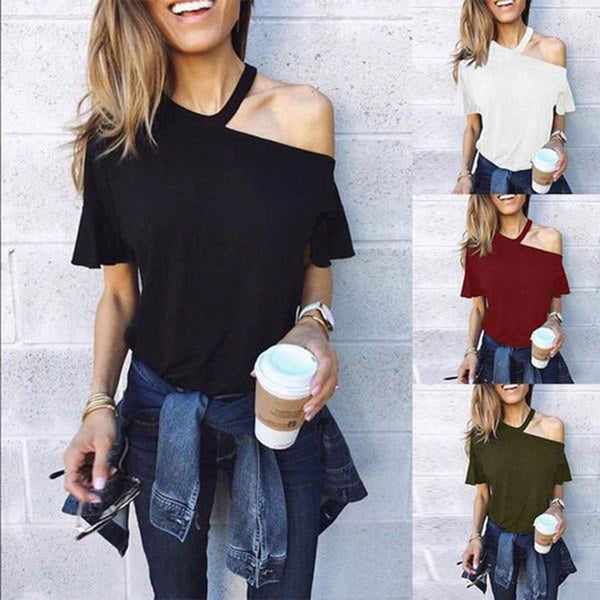 Sexy One Shoulder Plain Loose T-Shirts