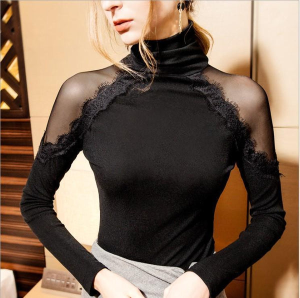 Sexy High Neck Open Shoulder Patchwork Blouse