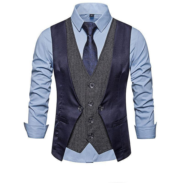 Men's Business Single-Breasted V-Neck Fake Two-Piece Suit Vest