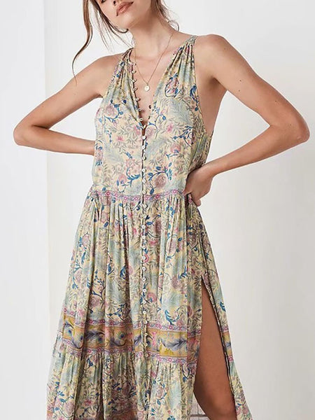 Bohemian V Neck Slit Sleeveless Single-Breasted Printed Colour Dress