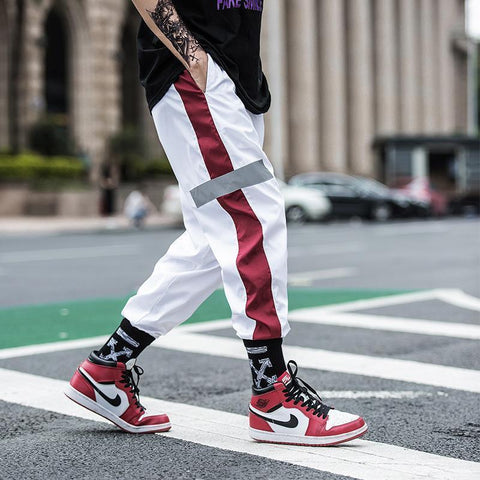 Men's reflective strip hiphop pants harem pants