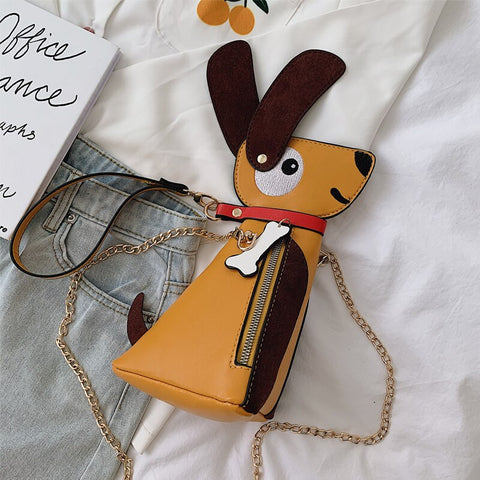 3D Cute Puppy Shape Pu Leather Girl's Chain Bag Women Crossbody Shoulder Bag Purses