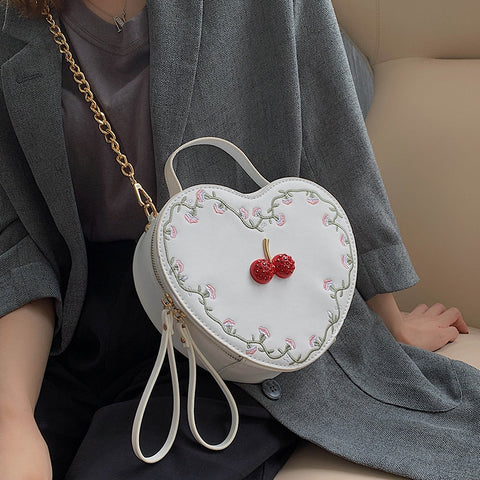 Embroidered Cherry Heart Shaped Pu Leather Women Shoulder Bag Tote Crossbody Bag Chain Purse Handbag Ladies Clutch Bag