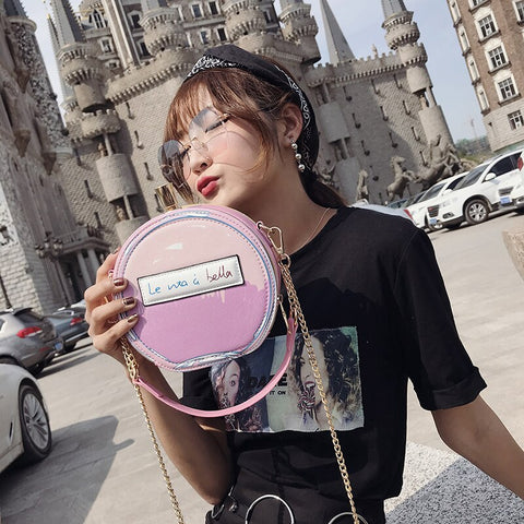 Letter Printed Perfume Bottle Shape Ladies Pu Leather Casual Handbag Chain Purse Shoulder Bag Messenger Bag