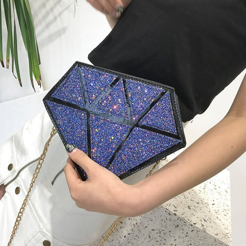 Diamond Shape Pu Leather Geometric Design Women's Crossbody Mini Messenger Bag Shoulder Bag Female Chain Purse