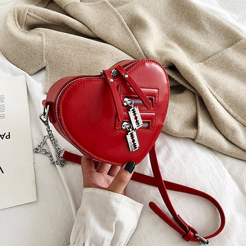Purses and Handbags  Red Love Heart Shape Shoulder Bag Ladies Chain Crossbody Bag Pu Leather Clutch Bag Tote Bag