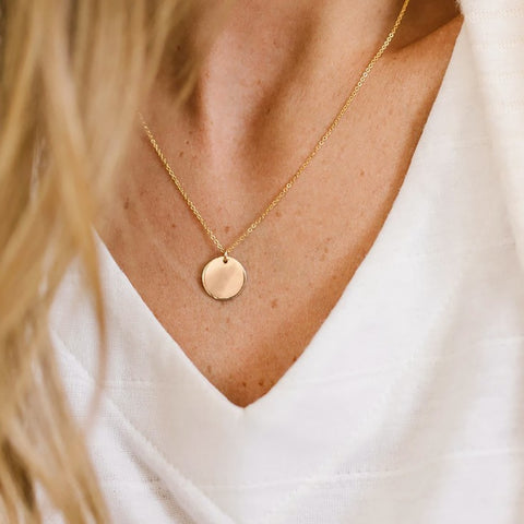 Gold Color Choker Necklace for Women 1 Layers Cute Sequin Pendant Chain Necklaces
