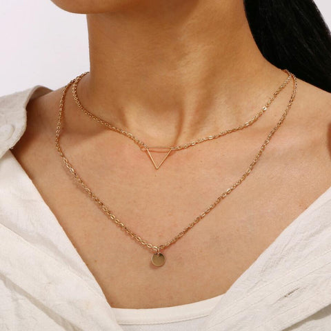 Gold color Choker Necklace for women 2 Layers sequin triangle Pendant Chain Necklaces