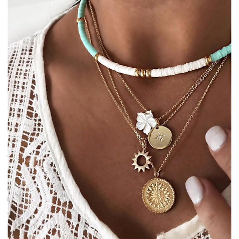 Gold Color Choker Necklace for Women 4 Layers Flower Coin Sun Pendant Chain Necklaces Jewelry
