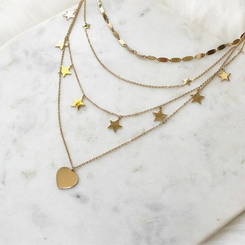 Gold Color Choker Necklace for Women 4 Layers Stars Heart Pendant Chain Necklaces