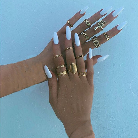 Gold color Retro Knuckle Rings For Women Vintage Geometric cute snake crystal Ring Set Party Bohemian Jewelry 13 PCS/Set Necklace