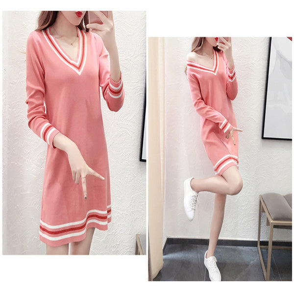 Merry Pretty Sexy V-neck knitting sweater dress