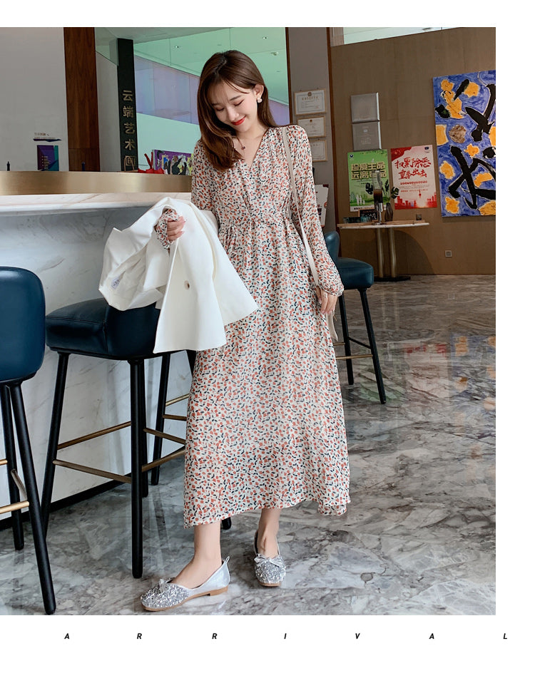 Korean Style New V-neck Floral Female Long Sleeve Dress