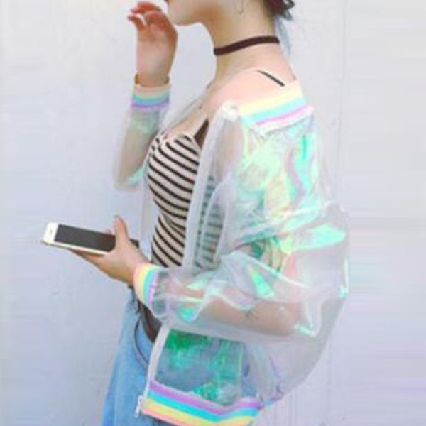 Jacket Rainbow Bomber Clear Iridescent Symphony Hologram Basic Coat Laser Transparent Nice Jackets
