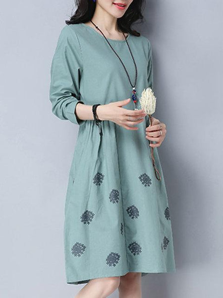Women A-line Going out Long Sleeve Cotton Casual Pockets Dress