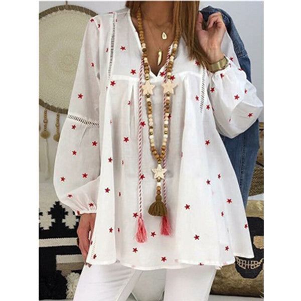 Large Size Loose Women Blouses 2020 Autumn V-neck Long-sleeved Blouses Hollow Printed Ladies Shirt