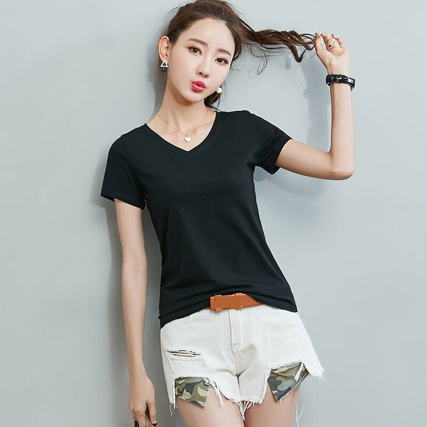 2020 Summer Women's Short Sleeved T-shirt V-collar T-shirt