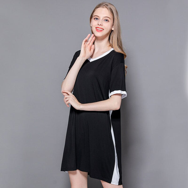 2020 Summer New Women Leisure V-collar Splice Loose and Thin T-shirt
