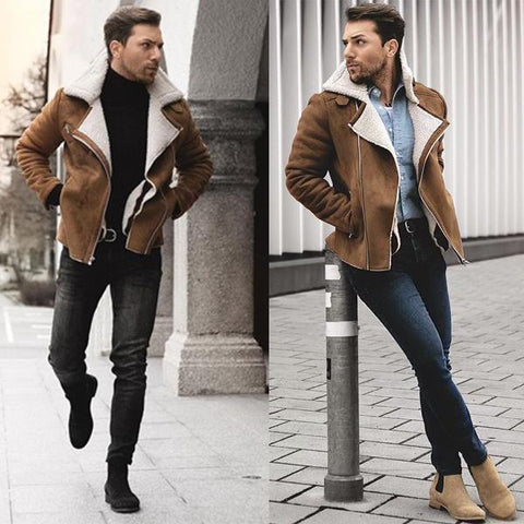 Cotton Coat Men's Imported Lamb Hair Liner Lapel Leather Jacket