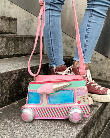 Cartoon Ice Cream Car Color Stripe Pu Young Girl's Shoulder Bag Handbag Crossbody Mini Bag Women Pouch Totes Bag Flap