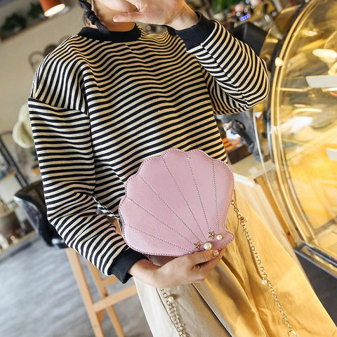 Pearl Decorative Fashion Shell Style Girl's Shoulder Bag Chain Purse Flap Women's Handbag Crossbody Mini Messenger Bag