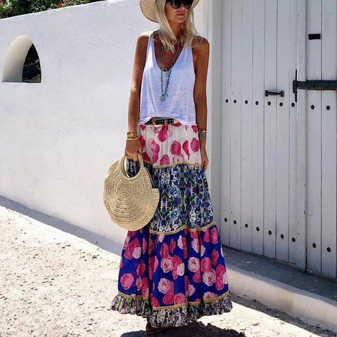 V-Neck Top Vintage Print Skirt Set