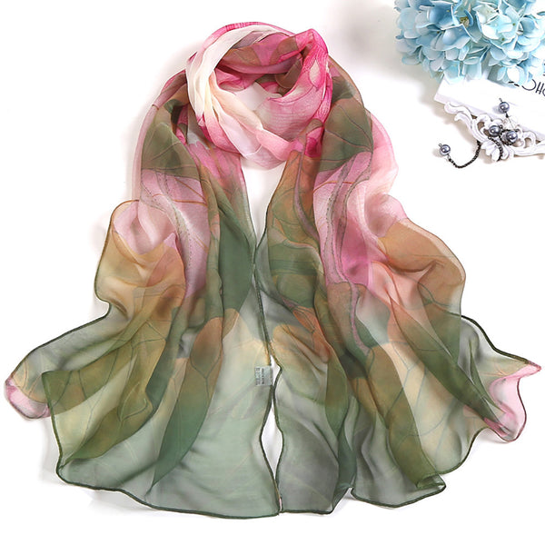 Scarf Women Multicolor Fashion Lotus Printing Long Soft Wrap Scarf Ladies Shawl Scarves Quality Long Chiffon Foulard Femme