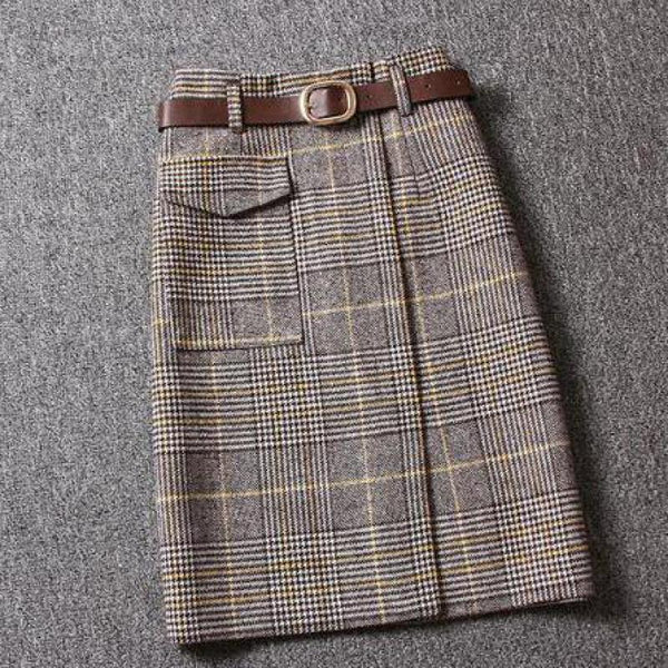 Plaid Women Fashion Vintage Slim Lady Elegant Straight Wool Skirts