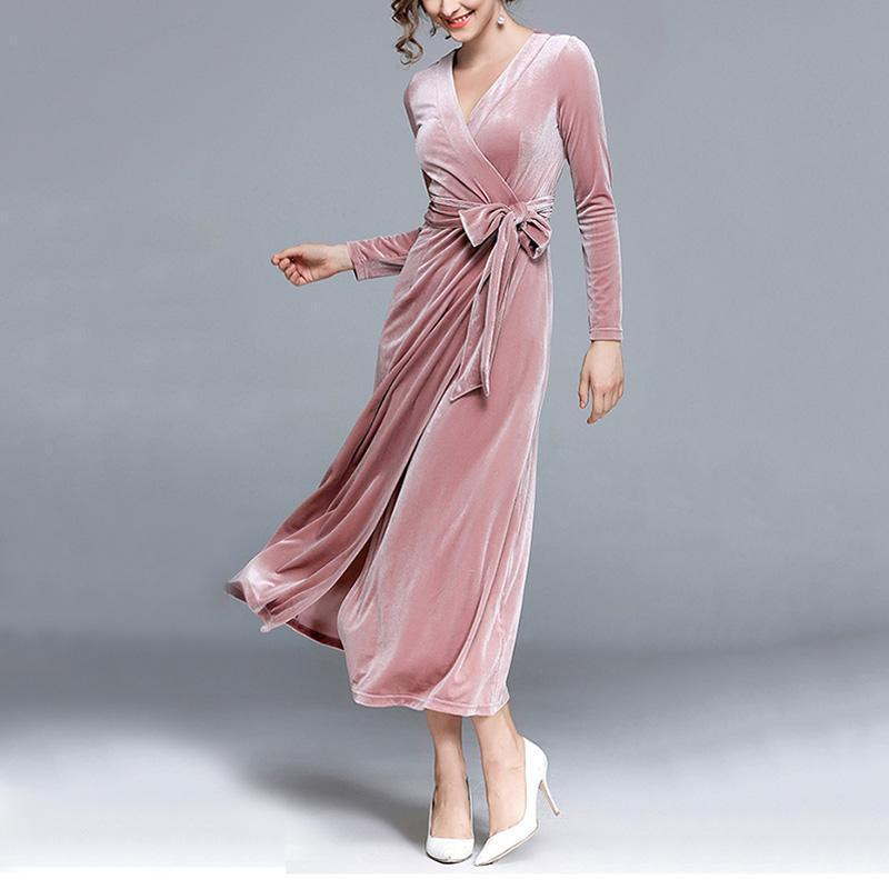 Fashion Sexy V Collar Velvet Frenulum Maxi Dress