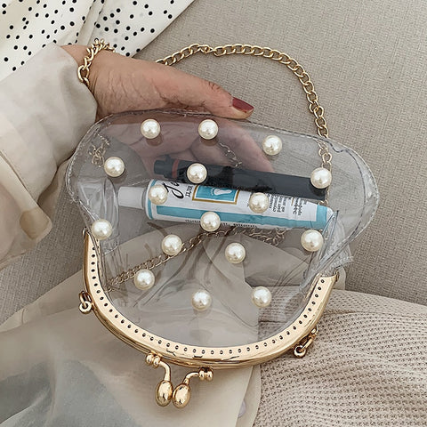 Transparent PVC Pearl Shell Shape Young Girls Crossbody Bag Purses and Handbags Female Shoulder Chain Bag Clutch Bag