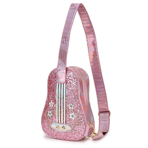 Trendy Guitar Style Pink & Silver Laser Diamond Pu Leather Young Girl's Shoulder Bag Crossbody Casual Chest Bag Tote