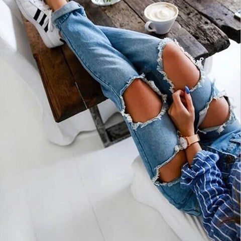 Vintage Rolled Washing Ripped Jeans